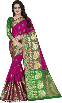 RB lifestyle Attractive Monika Saree with running blouse Piece (Pink)