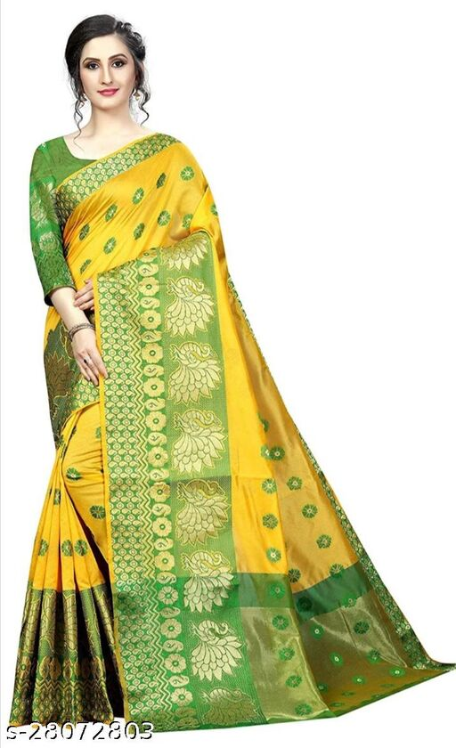RB lifestyle Attractive Monika Saree with running blouse Piece (Yellow)