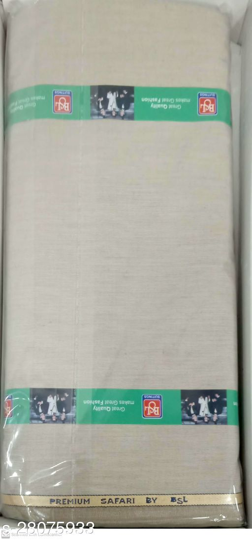 BSL Men's Unstitched Blended Fabric Safari Fabric (Khaki 2.8 Meter, Free Size) For Gift