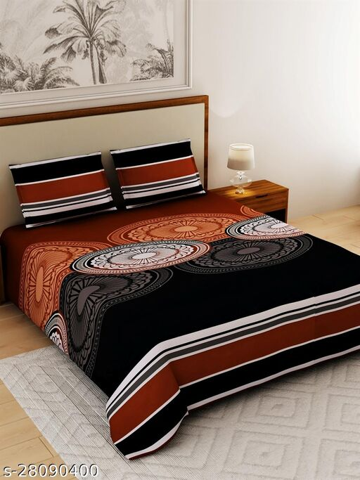 Salona Bichona 100% Cotton Printed 120 TC 1 King Bedsheet With 2 Pillow Cover