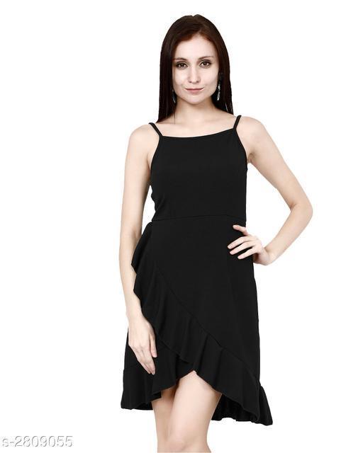 Women's Solid High-Low Cotton Blend Dress