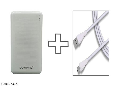 Duminas 12w Fast charging 10000 mah Powerbank  and C -Type Charging Cable combo-white