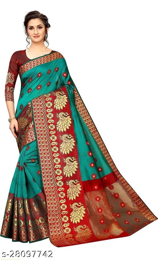 RB lifestyle Attractive Monika Saree with running blouse Piece (Teal)