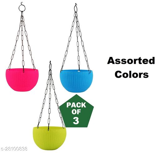 GreyFOX   7inch Hanging Plastic Pot Pack of 3 (Assorted Colors)