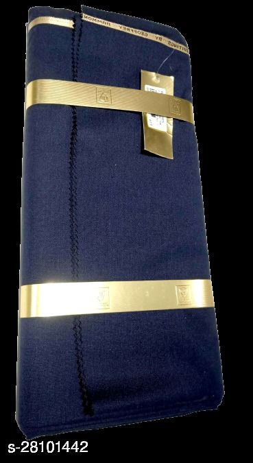 Geoffrey Hammond Men's Unstitched Blended Wool Fabric Suit Fabric ( Dark blue 3 Meter, Free Size) For Gifts