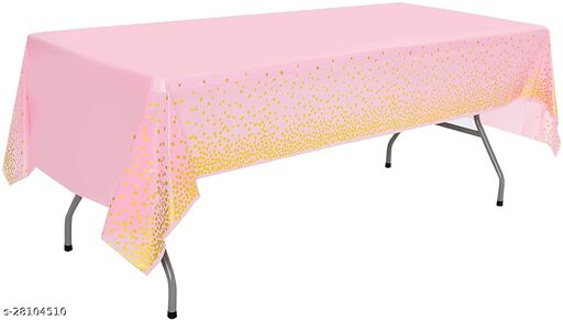 Disposable Table Cover Pink & Gold Polka Dot Party (Size 54  X 108) Covers any table up to 8ft/245cm Pink (Party Monkey)