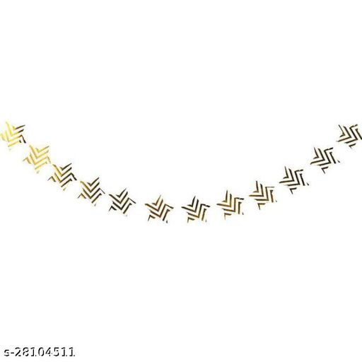 Paper Garlands Banner Star Hanging Gold stripes Decoration Hanging Christmas Decorations Kids Birthday Party Supplies Baby Shower(White & Gold) (Party Monkey)