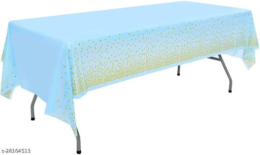Disposable Table Cover Blue & Gold Polka Dot Party (Size 54  X 108) Covers any table up to 8ft/245cm Blue (Party Monkey)