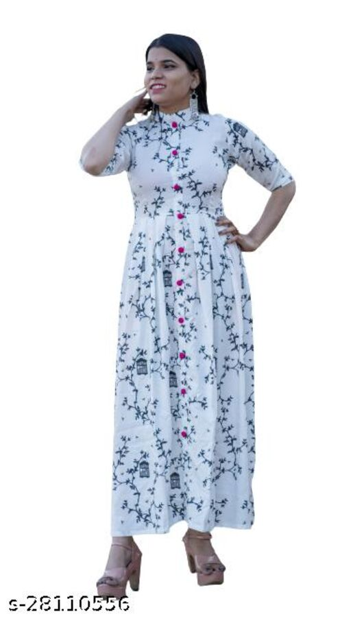 White Gown Rayon Black Printed