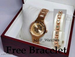 Copper Flower Diamond Dial Stainless Still Belt Latest watch for girls with Free Bracelet