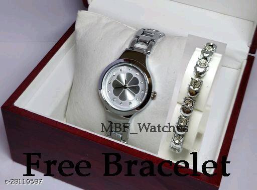 Silver Flower Diamond Dial Stainless Still Belt Latest watch for girls with Free Bracelet