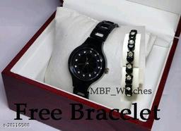 Black Flower Diamond Dial Stainless Still Belt Latest watch for girls with Free Bracelet