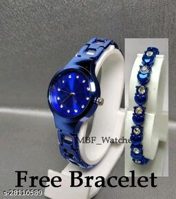 Blue Flower Diamond Dial Stainless Still Belt Latest watch for girls with Free Bracelet