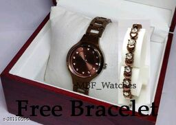 Brown Flower Diamond Dial Stainless Still Belt Latest watch for girls with Free Bracelet