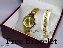 Golden Flower Diamond Dial Stainless Still Belt Latest watch for girls with Free Bracelet