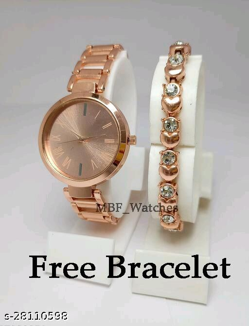 Copper color analog Dial Stainless Still Belt Watch for girls and Women with Free Designer Bracelet