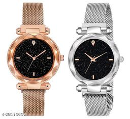 Silver and Rose gold Color Magnetic Belt Deisgner Girls watch pack of 2