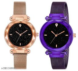 Purple and Rose gold Color Magnetic Belt Deisgner Girls watch pack of 2