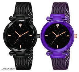 Black and Purple Color Magnetic Belt Deisgner Girls watch pack of 2