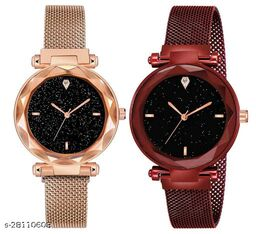 Red and Rose gold Color Magnetic Belt Deisgner Girls watch pack of 2