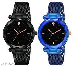 Black and Blue Color Magnetic Belt Deisgner Girls watch pack of 2