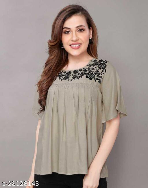 Rayon Embroidered Half Sleeves Tunic/Top For Women