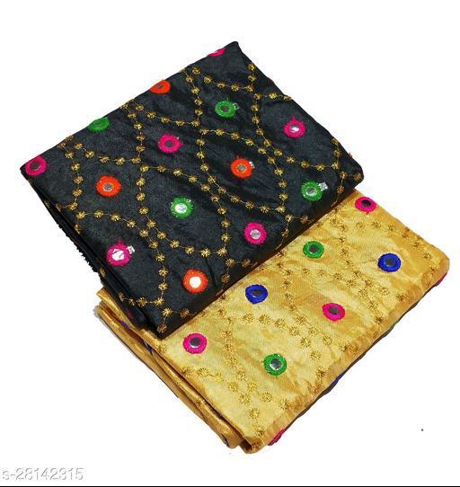 Women's Rajasthani jaipuri Mirror Work Art Silk Blouse Material (2Peace)