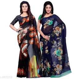 Superior Georgette Women's Sarees (Pack Of 2)