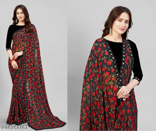 G-Stuff Women's Printed Georgette Saree With Blouse Piece