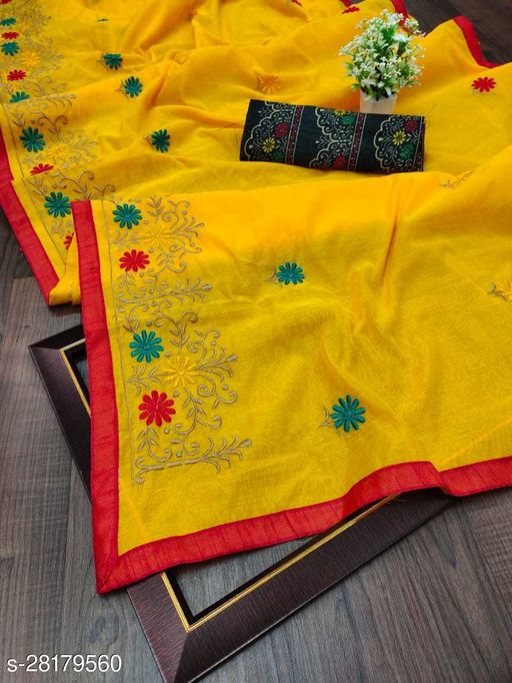 Beautyfull Women Embroidered Chanderi Cotton Sarees