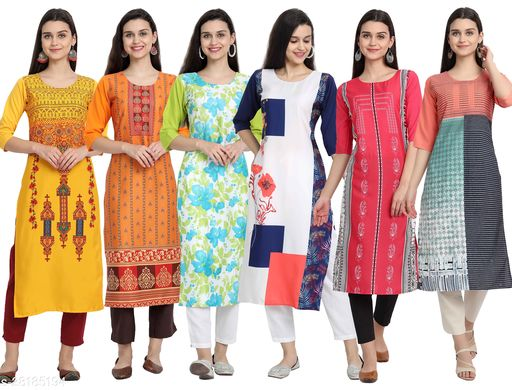 Stylish Crepe Digital Printed Straight Kurti. Maha Price Drop Sale