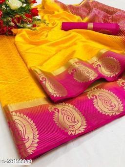 Pemal Designer Fancy Kanjiwaram Silk Saree With Running Blouse Piece