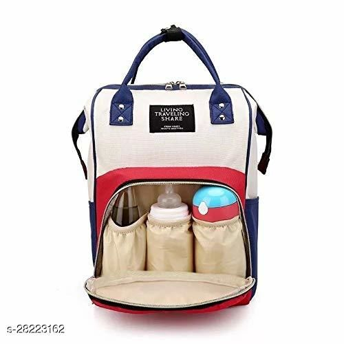 Chinmay Kids Baby Diaper Bag Stylish Polyester Organizer Backpack for New Born Baby Mother Mom for Casual Travel Outing & Traveling – (Red White)