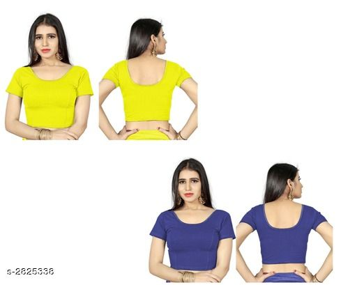 Blouse Piece Fancy Shimmer Lycra Women's Blouse  *Fabric* Shimmer Lycra  *Sleeves* Sleeves Are Included  *Size* L - 38 in, XL - 40 in, XXL - 42 in  *Length* Up To 18 in  *Colour* Blouse 1 - Yellow,  Blouse 2 - Blue  *Type* Stitched  *Description* It Has 2 Piece Of Women's Blouse  *Pattern* Solid  *Sizes Available* L, XL, XXL *    Catalog Name: Trendy Fancy Shimmer Lycra Women's Blouses Vol 6 CatalogID_383571 C74-SC1391 Code: 714-2825338-