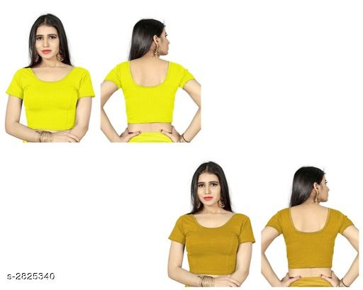 Blouse Piece Fancy Shimmer Lycra Women's Blouse  *Fabric* Shimmer Lycra  *Sleeves* Sleeves Are Included  *Size* L - 38 in, XL - 40 in, XXL - 42 in  *Length* Up To 18 in  *Colour* Blouse 1 - Yellow,  Blouse 2 - Chiku  *Type* Stitched  *Description* It Has 2 Piece Of Women's Blouse  *Pattern* Solid  *Sizes Available* L, XL, XXL *    Catalog Name: Trendy Fancy Shimmer Lycra Women's Blouses Vol 6 CatalogID_383571 C74-SC1391 Code: 714-2825340-