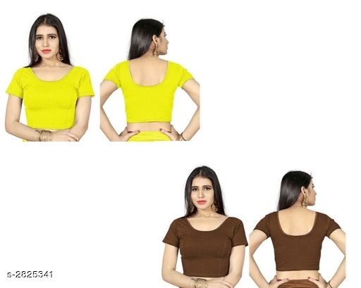 Blouse Piece Fancy Shimmer Lycra Women's Blouse  *Fabric* Shimmer Lycra  *Sleeves* Sleeves Are Included  *Size* L - 38 in, XL - 40 in, XXL - 42 in  *Length* Up To 18 in  *Colour* Blouse 1 - Yellow,  Blouse 2 - Coffee  *Type* Stitched  *Description* It Has 2 Piece Of Women's Blouse  *Pattern* Solid  *Sizes Available* L, XL, XXL *    Catalog Name: Trendy Fancy Shimmer Lycra Women's Blouses Vol 6 CatalogID_383571 C74-SC1391 Code: 714-2825341-