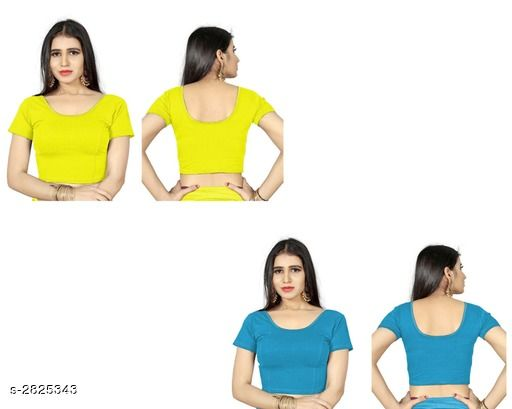 Blouse Piece Fancy Shimmer Lycra Women's Blouse  *Fabric* Shimmer Lycra  *Sleeves* Sleeves Are Included  *Size* L - 38 in, XL - 40 in, XXL - 42 in  *Length* Up To 18 in  *Colour* Blouse 1 - Yellow,  Blouse 2 - Firozi  *Type* Stitched  *Description* It Has 2 Piece Of Women's Blouse  *Pattern* Solid  *Sizes Available* L, XL, XXL *    Catalog Name: Trendy Fancy Shimmer Lycra Women's Blouses Vol 6 CatalogID_383571 C74-SC1391 Code: 714-2825343-
