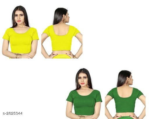 Blouse Piece Fancy Shimmer Lycra Women's Blouse  *Fabric* Shimmer Lycra  *Sleeves* Sleeves Are Included  *Size* L - 38 in, XL - 40 in, XXL - 42 in  *Length* Up To 18 in  *Colour* Blouse 1 - Yellow,  Blouse 2 - Green  *Type* Stitched  *Description* It Has 2 Piece Of Women's Blouse  *Pattern* Solid  *Sizes Available* L, XL, XXL *    Catalog Name: Trendy Fancy Shimmer Lycra Women's Blouses Vol 6 CatalogID_383571 C74-SC1391 Code: 714-2825344-