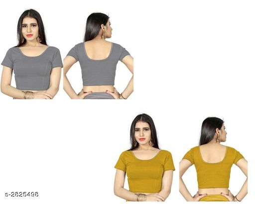 Blouses Fancy Shimmer Lycra Women's Blouse (Pack of 2)  *Fabric* Shimmer Lycra  *Sleeves* Sleeves Are Included  *Size* L - 40 in, XL - 42 in, XXL - 44 in  *Length* Up To 18 in  *Colour* Blouse 1 - Grey, Blouse 2 - Chiku  *Type* Stitched  *Description* It Has 2 Piece Of Women's Blouse  *Pattern* Solid  *Sizes Available* L, XL, XXL *    Catalog Name: Trendy Fancy Shimmer Lycra Women's Blouses Vol 7 CatalogID_383586 C74-SC1007 Code: 714-2825498-