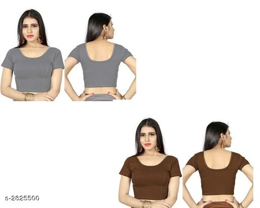 Blouses Fancy Shimmer Lycra Women's Blouse (Pack of 2)  *Fabric* Shimmer Lycra  *Sleeves* Sleeves Are Included  *Size* L - 40 in, XL - 42 in, XXL - 44 in  *Length* Up To 18 in  *Colour* Blouse 1 - Grey, Blouse 2 - Coffee  *Type* Stitched  *Description* It Has 2 Piece Of Women's Blouse  *Pattern* Solid  *Sizes Available* L, XL, XXL *    Catalog Name: Trendy Fancy Shimmer Lycra Women's Blouses Vol 7 CatalogID_383586 C74-SC1007 Code: 714-2825500-