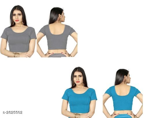 Blouses Fancy Shimmer Lycra Women's Blouse (Pack of 2)  *Fabric* Shimmer Lycra  *Sleeves* Sleeves Are Included  *Size* L - 40 in, XL - 42 in, XXL - 44 in  *Length* Up To 18 in  *Colour* Blouse 1 - Grey, Blouse 2 - Firozi  *Type* Stitched  *Description* It Has 2 Piece Of Women's Blouse  *Pattern* Solid  *Sizes Available* L, XL, XXL *    Catalog Name: Trendy Fancy Shimmer Lycra Women's Blouses Vol 7 CatalogID_383586 C74-SC1007 Code: 714-2825502-
