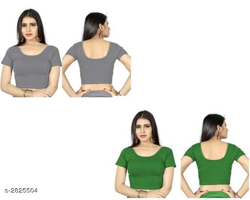 Blouses Fancy Shimmer Lycra Women's Blouse (Pack of 2)  *Fabric* Shimmer Lycra  *Sleeves* Sleeves Are Included  *Size* L - 40 in, XL - 42 in, XXL - 44 in  *Length* Up To 18 in  *Colour* Blouse 1 - Grey, Blouse 2 - Green  *Type* Stitched  *Description* It Has 2 Piece Of Women's Blouse  *Pattern* Solid  *Sizes Available* L, XL, XXL *    Catalog Name: Trendy Fancy Shimmer Lycra Women's Blouses Vol 7 CatalogID_383586 C74-SC1007 Code: 714-2825504-