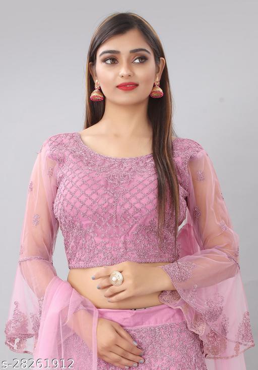 Angel Trends Pink Nylon Net Zari Work Unstitched Blouse