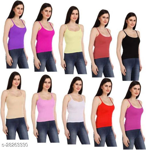Women Pack of 10 Multicolor Cotton Blend Camisoles