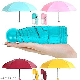 Decent Star Ultra Lights and Small Mini Umbrella with Cute Capsule Case,5 Folding Compact Pocket Umbrella, Especially for Kids