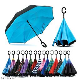 Decent Star Windproof Reverse Folding Double Layer Inverted Reversible Umbrella with C Shape Handle (Multicolour)