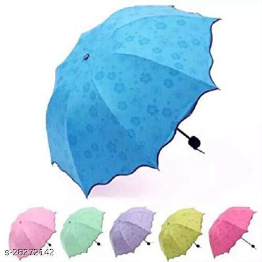 Decent Star Unisex Changing Secret Blossoms Occur with Water Magic Print 3 Fold Umbrella for UV, Sun and Rain (Random Colour)