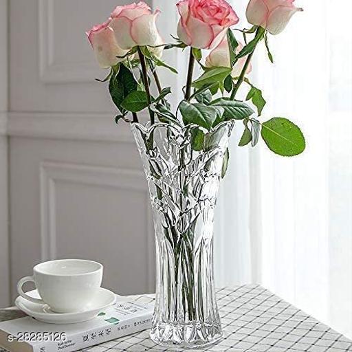 Rs Sandep Glass Flower Pot, Crystal Clear Vase for Living / Long Glass vase / Glass vase Glass Flower Glass vase Decoration for Home / Glass jar for Plants Indoor / Room/Home/Office