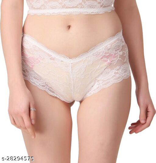 Women Hipster White Lace Panty