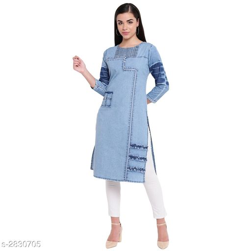 Kurtis & Kurtas Casual Denim Women's Kurti  *Fabric* Denim  *Sleeves* Sleeves Are Included  *Size* S - 36 in, M - 38 in, L - 40 in, XL - 42 in, 2XL - 44in, 3XL - 46 in, 4XL- 48 in, 5XL - 50 in  *Type* Stitched  *Length* Up To 42 in  *Description* It Has 1 Piece Of Kurti  *Pattern* Solid  *Sizes Available* S, M, L, XL, XXL, XXXL, 4XL, 5XL   Catalog Rating: ★4.4 (30) Supplier Rating: ★4.2 (601) SKU: VM00150 Shipping charges: Rs1 (Non-refundable) Pkt. Weight Range: 300  Catalog Name: Elanah Casual Denim Women's Kurtas Vol 2 - alisha_fashion Code: 396-2830705--518